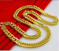 """Venta al por mayor-78g Burly hombres 24k oro amarillo macizo GF grueso collar de cadena 23.6 """"8 mm de ancho"""