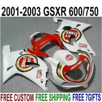 ABS Motorcykel Fairing Kit för SUZUKI GSXR600 GSXR750 2001 2002 2003 K1 Röd vit Lucky Strejke Fairings Set GSX-R600 / 750 01-03 RA45