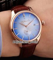 Yüksek Kalite Yeni Marka H. Mikser Cie Venturer Küçük Saniye 2327-0403 Mavi Dial Otomatik Mens Watch Gül Altın Vaka Deri Kayış Saatler