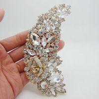 Großhandels- Art und Weise elegante Brautbrautjunfer-freie Rhinestone-Kristallrosen-Blumen-Kunst Nouveau Brosche