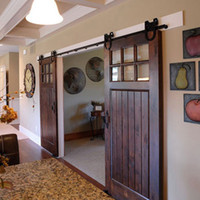 8 Photos Wholesale Wooden Interior Doors   7 FT Horseshoe Antique Black  Wooden Double Sliding Barn Closet Door