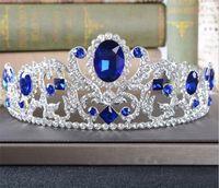 Vintage Blaue Kristall Krone Strass Tiara Hochzeit Braut Haarschmuck Kopfstück Stirnband Schmuck Silber Prinsel Kopfschmuck Prinzessin Königin