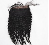 """Haar Verschlüsse Top Qualität verworrene lockige Weave Top Verschlüsse (4x3.5) 8 """"-26"""" reine brasilianische Remy Menschenhaar Stück Spitze Schließung"""