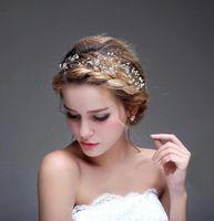 Croises perlées brillantes Couronnes de mariage 2016 Cristal bridal Veil Veil Tiara Crown Bandeau Head Bande Accessoires Partie Mariage Tiara CPA477