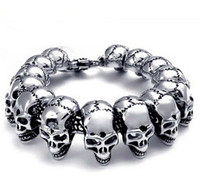 Punk Cool Men Stainless Steel Biker Skull Skeleton Bracelet ...