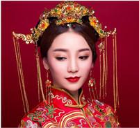 Mavi Prenses Gelin düğün elbise gösterisi Çin retro elbise kıyafeti ejderha saç Coronet Wo kostüm suit şapkalar aksesuarları