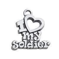 Бесплатная доставка Новая Мода Легко diy 20 Шт. Я люблю своего солдата военная серия подвески изготовления ювелирных изделий, пригодный для ожерелья или браслета