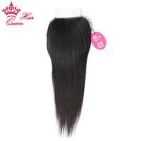 Queen Hair Prodcuts Бразильские девственницы человеческие волосы 8А класс верхние кружева закрыть прямые отбеленные узлы от 8 до 20 дюймов в нашем на нашем стоке DHL быстрая доставка