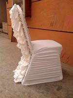サンプル注文リンク:背中のサテンの花が付いている1ピースホワイトフリルスタイルスパンデックスチェアカバー