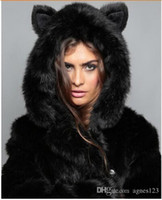 Winter Womens Long Sleeve Faux Fur Jacket Hooded With Bear E...