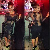 S- XXL XXXL Plus Size Bandage Dres Women Long Sleeve Black L...