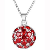 Luckyshine Nowy 12 sztuk Dzień Matki Prezent Okrągły Fire Red Garnet 925 Sterling Posrebrzane Naszyjniki Lady Wedding Wisiorki Biżuteria 13 * 21mm