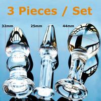 W1022 Economici 3 pz Set Pyrex Vetro Anale Butt Plug Perline di Cristallo Dildo Giocattoli Adulti del sesso femminile prodotti di masturbazione maschile per le donne uomini