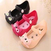 أحذية الصيف الطفل أطفال فتاة الصنادل الحلو القط الإبزيم حزام الصنادل البلاستيكية المسطحة أحذية الأطفال أحذية جيلي