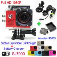 SJ7000 Wasserdichte WiFi Action Kamera + Ladegerät + Halterung + Autoladegerät 1080P Full HD Sport Kamera Tauchen Video Helm Camcorder Auto DVR