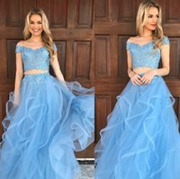 Светло-голубой из двух частей длинные платья выпускного вечера кружева с плеча оборками тюль линия вечерние платья