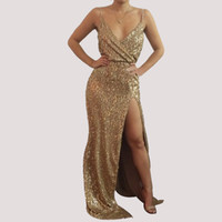 2017 NEW Gold Sequin Evening Gown Dress Sleeveelss V- Neck Sp...