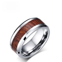 100% real de carburo de tungsteno anillo de 8 mm de ancho nosotros el tamaño 7-12 de boda retro de los hombres de partido de la manera diseño embutido anillo de madera regalo de Navidad regalo para los hombres