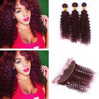 인기있는 색상 와인 레드 99J 인간의 머리카락 3 번들 레이스와 함께 전면 부르고뉴 깊은 웨이브 곱슬 머리 귀에 정면 13x4