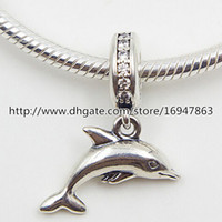 100% S925 Sterling Silver Playful Dolphin Dangle Charm Bead with Cz Fits European Pandora Style Jewelry Bracelets Necklaces & Pendant