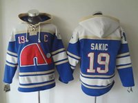 Top Qualität ! Quebec Nordiques Old Time Hockey Trikots # 19 Joe Sakic Blau Weiß Hoodie Pullover Sport Sweatshirts Winter Jacke