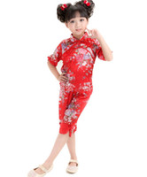 Chinese summer girls short sleeve wear Tang suit traditional Chinese sets Dance Kungfu suits darncewear #3763