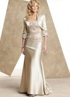 free shipping 2018 Champagne satin mother of the bride dress...