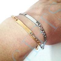 Små Figaro Chain ID Armband Rostfritt Stål Smycken Holiday Gift för vän
