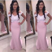 Erröten Rosa Prom Kleider Lange 2017 Arabisch Weg Von Der Schulter Abendkleid Mermaid Formale Celebrity Pageant Kleider
