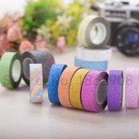 Partihandel-8 färger 10m Glitter Tape Starkt lim för maskering Deco Washy Tape