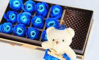 Valentinstag Geschenke, schöne Bär und 18 seifenrosen Hochzeit Geschenk-box Seife freies Verschiffen SR10