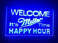 b- 28 Welcome Miller Time Happy Hour beer Bar 7 color LED Neo...