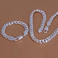 Yüksek dereceli 925 gümüş '10MM tokasının yanlara karides parça - Erkekler takı seti DFMSS099 Fabrikası 925 silve kolye bilezik yönlendirmek