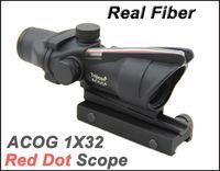 Тактический источник волокна ACOG 1x32 красная точка сфера с реальным красным волокном прицелы черный