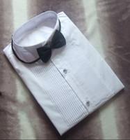 Neue Ankunft 100% Baumwolle Männer Hochzeit Hemd Bräutigam Shirts Weiß Farben Bräutigam Shirt (38 39 40 41 42 43 44 46) H576