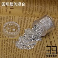 Wholesale- 10g box 1mm Hexagon Silver Nail Glitter Dust Fine...