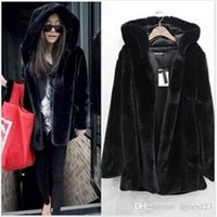 free shipping new women faux fur coat hooded plus size S- - 2X...