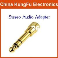 """새로운 무료 배송 100pcs 3.5mm 여성 스테레오 오디오 어댑터 AV 6.5mm 1 / 4 """"남성"""