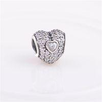 Autentico argento sterling 925 pavimenta tripla perla cuore con cristallo bianco adatto europeo Pandora gioielli perline di fascino bracciali