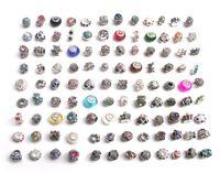 Бесплатная доставка 100 шт./лот mix стиль красочные горный хрусталь металл большое отверстие бусины хрустальное стекло подвески fit Европейский DIY браслет ювелирных изделий DIY