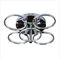 Современные 5 кольца хром алюминия LED Кристалл круглые потолочные светильники лампы светильник L65 * H20cm 100W AC220-240V для гостиной спальня