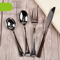 Electroplating Silver Plastic Spoon Knife Fork Disposable Pa...