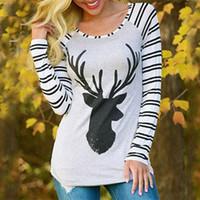 Magliette natalizie per le donne Camicie con stampa ale dei cervi alci Magliette per le donne Taglie forti Abbigliamento donna T-shirt casual Camicie a maniche lunghe