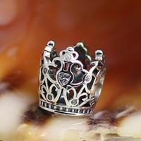 2015 стерлингового серебра 925 Принцесса Корона Шарм бисера с Clear CZ подходит Европейский Pandora ювелирные браслеты колье кулоны