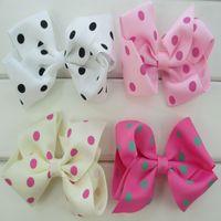 GirlsHair Accessories Babymatch 28pcs /Lot 4 ''Grosgrain Ribbon Polka Dot Hair Bows With Clips Bow Hair Clips For