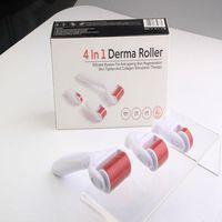 4 in 1 Derma Roller Edelstahl / Titanlegierung Nadeln DRS Derma Roller mit 3 Kopf (1200 + 720 + 300 Nadeln) Derma Roller Kit für Akneentfernung