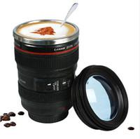 400 ملليلتر المقاوم للصدأ عدسة الكاميرا القدح مع غطاء جديد رائع أكواب القهوة كوب الشاي الهدايا الجدة caneca lente أكواب drinkware