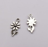 Hot ! 200pcs Antiqued Silver Alloy Single-sided design Flower Charm DIY Jewelry 19 x10mm (373)