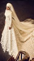 아랍어 이슬람 웨딩 드레스 긴 소매 채플 기차 레이스 웨딩 드레스 지퍼 뒤로 맞춤형 신부 드레스 웨딩 파티 드레스