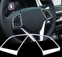 2st / set för Hyundai Tucson 2015 2016 2017 Bilstyrningshjul Sequins täcker Chrome Trim Krom Styling Dekoration Tillbehör